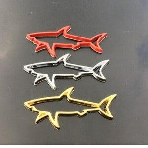 Image 1 - Autocollant de décoration de voiture en métal 3D, décalque demblème de poisson creux de requin, accessoires pour coffre, pour Automobiles, ordinateur, capuchon de carburant, pour moto