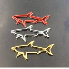 Pegatina de Metal 3D para coche, calcomanías con emblema de tiburón y pez hueco, para maletero de automóvil, accesorios de tapa de combustible para computadora de motocicleta