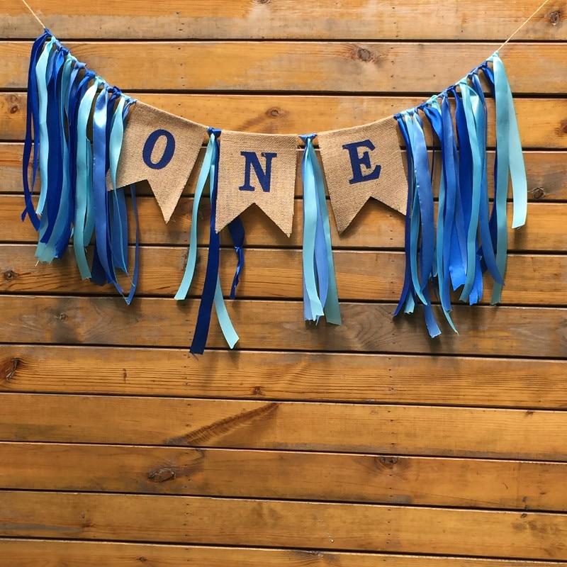 Özel Mavi Pembe Şerit Bir İlk Doğum Günü Afiş Bebek Kız Erkek Bunting Prenses Bayrak Bebek Duş Parti Süslemeleri Kreş Çel ...
