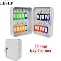 20 Tags Fobs Wall Mounted Lockable Security Metal Key Cabinet Box Safe Storage For Property Management