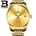 Schweiz BINGER Marke Mechanische Uhr Männer Luxus Sapphire Wasserdichte Kalender Gold Uhren Männlich Relogio Masculino 2019-in Mechanische Uhren aus Uhren bei