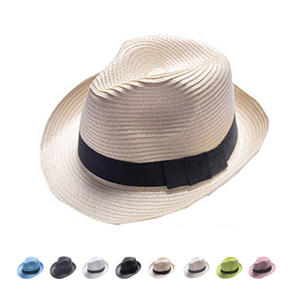 Unisex Fedora Trilby Gangster Cap Summer Beach Sun Topee Straw Panama Hat  for Men Women f9d54f93b7f3