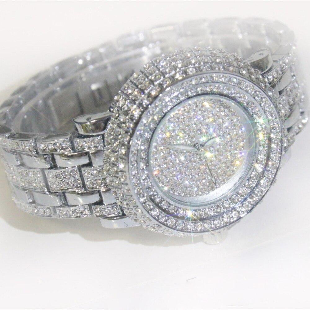 2019 Luxury Crystal Watch Stainless Steel Strap Quartz Watch Rhinestone Women Watches Clock Female Ladies Dress Wristwatch