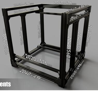 Black BLV mgn Cube Frame kit /& Hardware Kit For DIY CR10 3D Printer Z height 365
