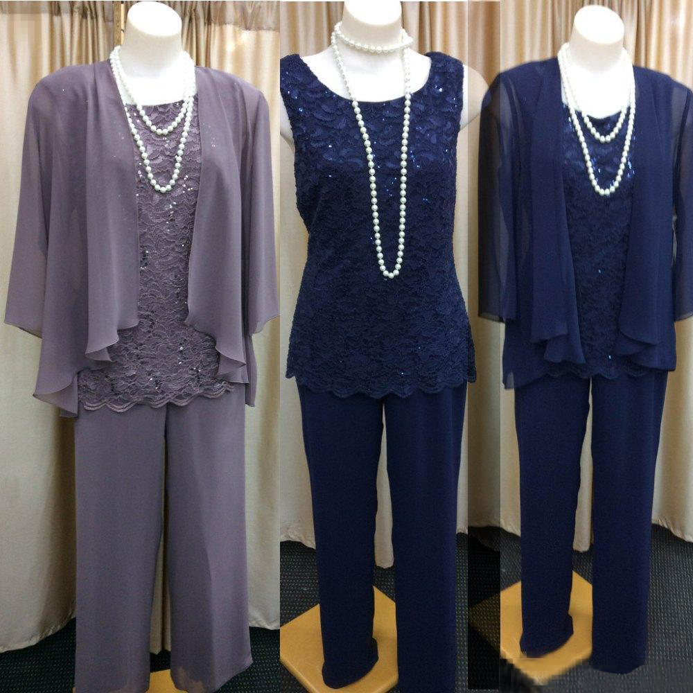 3 Three Pieces Mother Of the Bride Dress Pants Suit With Jacket Outfit Formal Evening Lace