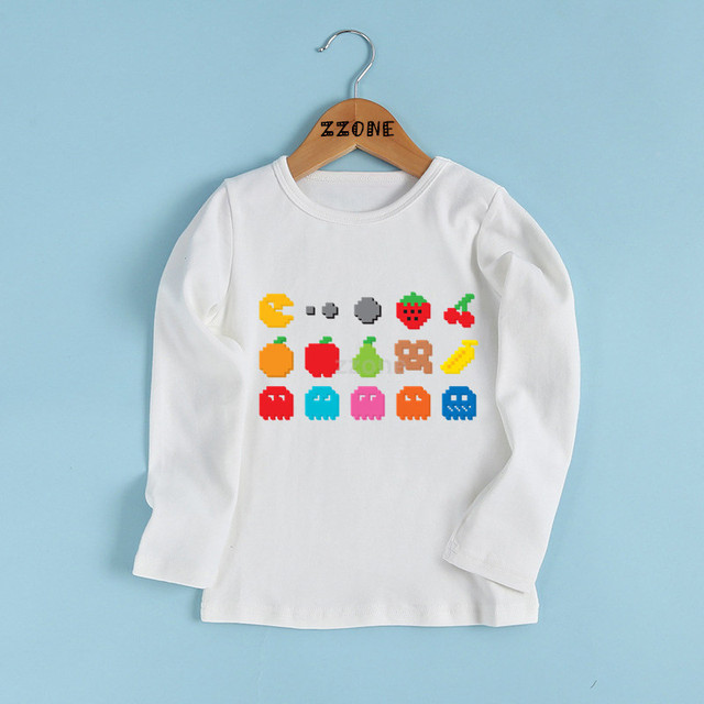 b4ed52f9 Boys and Girls Game Pac-Man Eat Ghost Print T shirt Kids Pacman Funny  Clothes Baby Cartoon Long Sleeve T-shirt,LKP5223