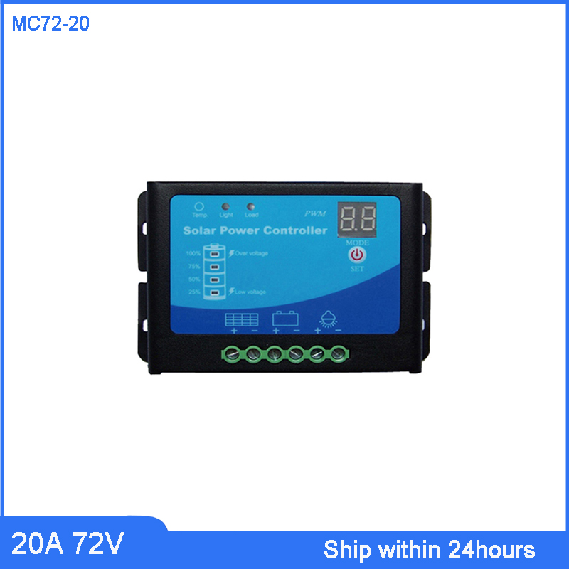PWM Mode 72V 20A Solar Charge Controller for Security Alarm/PV System/Home Solar Charge Regulator with Light and Time ControlPWM Mode 72V 20A Solar Charge Controller for Security Alarm/PV System/Home Solar Charge Regulator with Light and Time Control