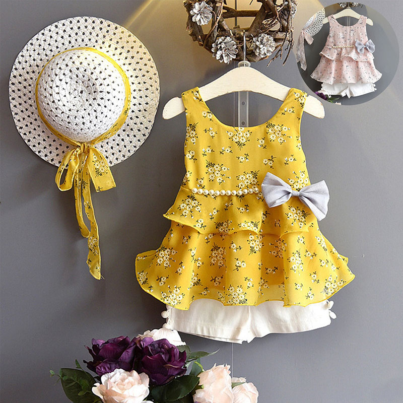 baby girl clothes for top wear Clothing newborn childrens wear summer kids costume sliders Kids things set with hat and shorts