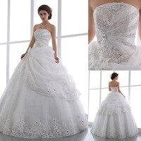 Роскошные Цветы Кристаллы Белый Длинный Женщины Свадебные Платья 2016 Мода Бальное платье Свадебные Платья На Заказ SARAHBRIDAL QYJY130