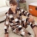 2016 Зима Теплая Фланель Толстый Пижамы пижамы мужчин Ночное pijama masculino Человек Пижамы Устанавливает Пижамы Тепловой халат мужчины