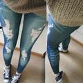 Mujeres Elástico Flaco Jeggings Apenada Vintage Medias Denim Jeans Delgado Pantalones Freeshipping