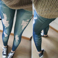 Women Stretchy Skinny Jeggings Vintage Distressed Tights Denim Jeans Slim Pants Freeshipping