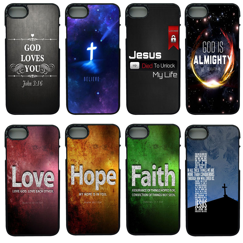 Christian Jesus Bible Verse Cell Phone Cases Hard Shell Phone Cover for iphone 8 7 6 6S PLUS X 5S 5C 5 SE iPod Touch 4 5 6 Case