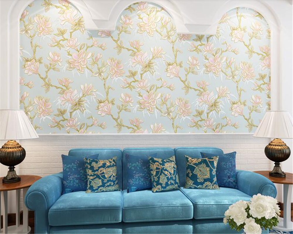 beibehang Stereo Wallpaper Pastoral Big Flower Country Living Room Backdrop Nonwoven 3d Wallpaper Bedroom Wedding Room tapety beibehang simple pastoral stereo