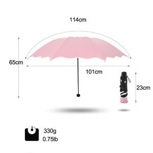 Image 2 - Marke Blume Regenschirm Für Frauen Klapp Mode Mädchen Sonnenschirm Tragbare Dringend Regen Weibliche Sonne UV klar Regenschirme Licht