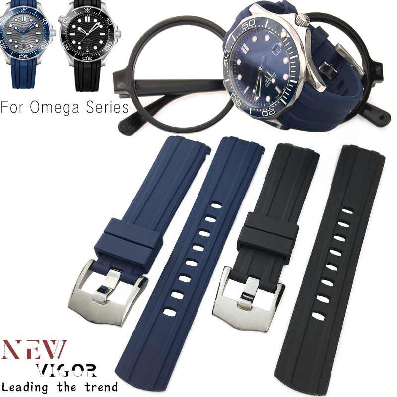 Us 22 88 20mm 21mm 22mm Rubber Silicone Watch Strap Black Blue Watchband Special For Omega Longines Seiko Tudor Iwc Watch Accessories In Watchbands