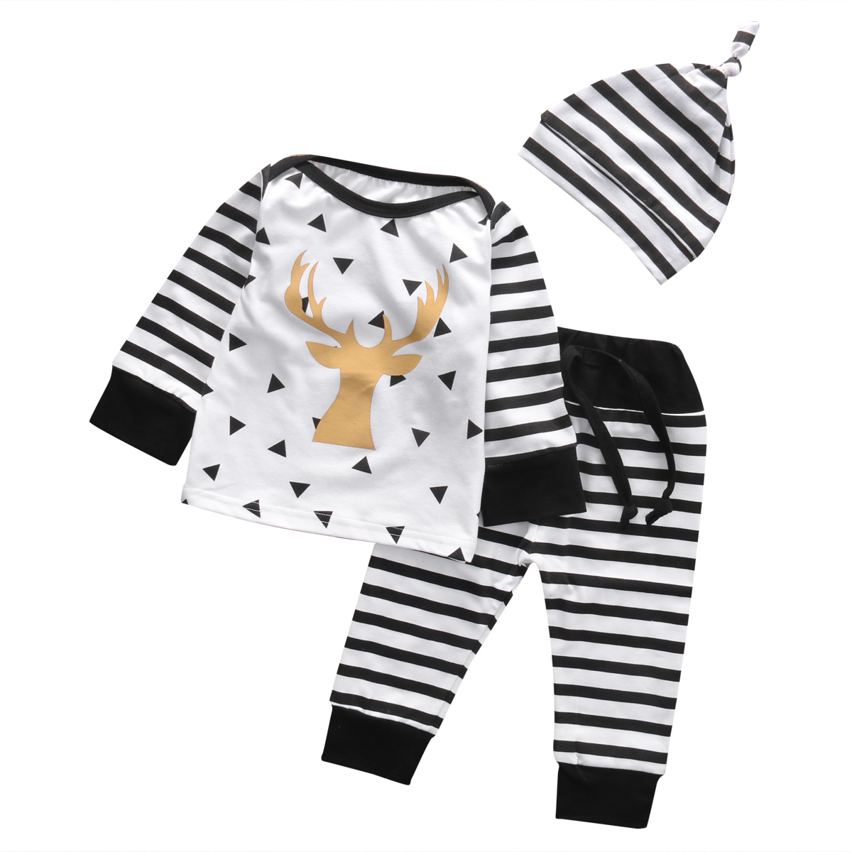 1a2cee6b621 3pcs!!Stripe Baby Girl Deer Long Sleeve T-shirt+Long Pants+Hat Cotton 3pcs  Outfits Xmas Clothes Set