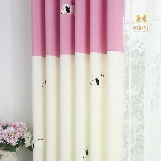 Blackout Prinzessin Vorhang Kinderzimmer Rosa Mädchen Vorhänge Blau Cartoon  Jungen Fensterscheiben Hund Patchwork Baby Vorhänge Nach
