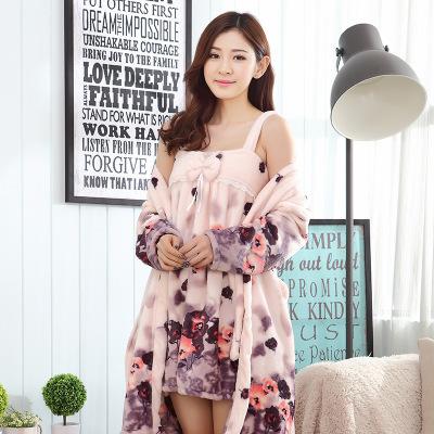 Roupões de Flanela Impressa Vestido E Roupas de Inverno das mulheres do Sexo Feminino Espessamento Colete Roupa Interior Camisola Alta Pijamas homewear Quente