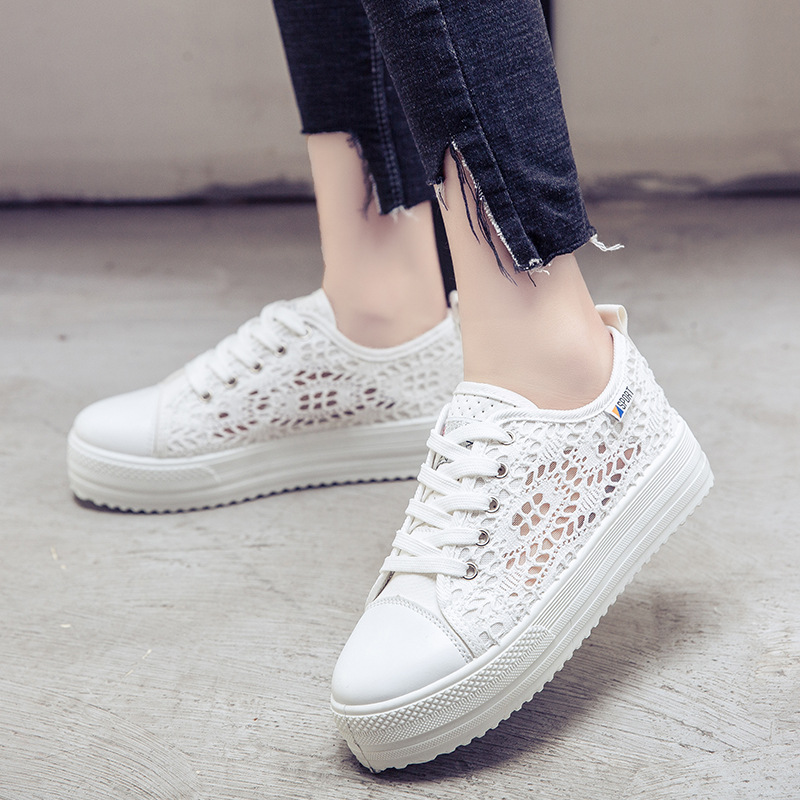 Women Shoes hollow breathable flat Shoes woman sneakers 2018 fashion summer casual Ladies Shoes cutouts lace canvas Shoes summer women shoes casual cutouts lace canvas shoes hollow floral breathable platform flat shoe sapato feminino lace sandals page 7