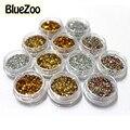 BlueZoo 12 potes/set 3D Belleza Del Clavo Fluorescente Ronda de Uñas de Diamante Decoración Del Arte Del Clavo de Oro Plata Colorful Uñas consejos Decal