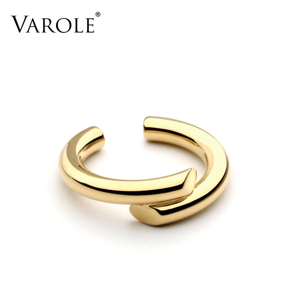 VAROLE Simple Sesign Style Rings for Women 100% Copper Gold Color Ring Jewelry Bague Femme Wedding Rings Silver Color gift