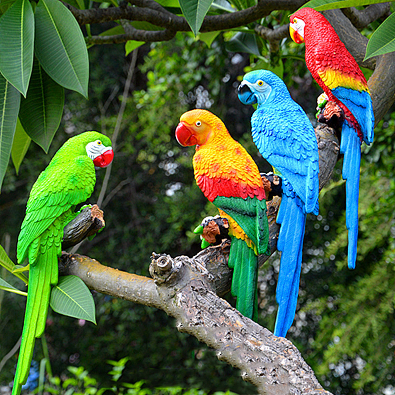 Garden Decoration Simulation Parrot Fairy Garden Miniature Sculpture Resin Crafts Outdoor Animal Decoration Wedding prop Gift