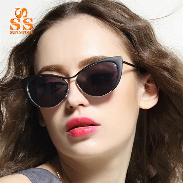 SUNSTONE Women's Fashion Cat Eyes Elf Fashion Vitality Sunglasses & Case Classic Designer Metal Frame Open-air Sun Glasses.SA73