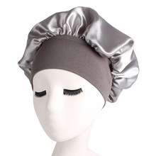 Solid Color Women Wide Band Satin Silk Bonnet Cap Sleep Hat Night Sleep Cap Ladies Soft Silk Long Hair Care Bonnet Headwrap(China)