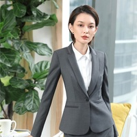 High Quality Fabric Uniform Designs Jackets Business Blazers Coat For Women Ladies Female Outwear Tops Clothes Elegant Grey