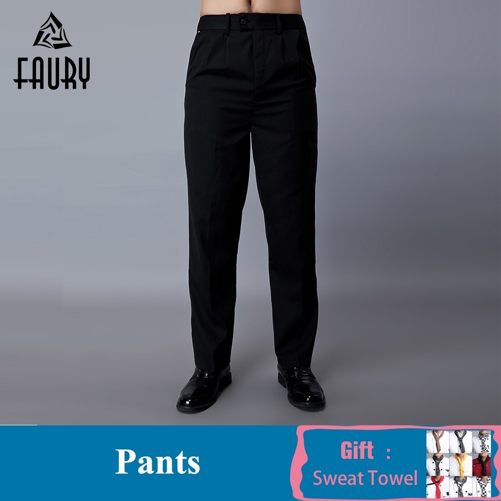 Unisex Black Elastic Waist Work Pants Food Service Kitchen Restaurant Hotel Chef Cook Waiter Workwear Trousers Free Scarf Gift