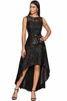 Fashion Women's High Low Dresses Sleeveless Elegant Slim Black Blue Lace Overlay Bow Sash Party Dresses