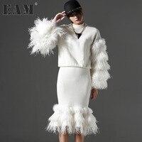 [EAM] 2018 Customize Autumn Winter Split Joint Ostrich Long Sleeve Sweatshirt + Fish Tail Skirt Two Piece Suit Women AZ6000S