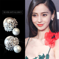 925 Sterling Silver Stud Earrings For Women Classic Double Sided Pearl Zircon Earrings Fashion Sterling-silver-jewelry