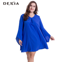 DEXIA Women Blue Dress Summer V Neck Loose Casual Clothing Plus Size Solid Long Sleeve Vestidos Female Elegant Dresses 17090