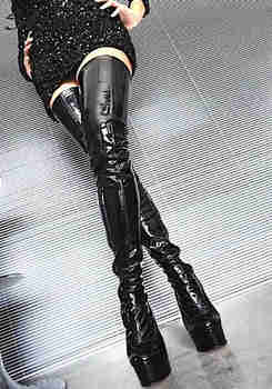 042797df336 Sorbern Black Patent Thigh High Boots Women Stilettos High Heel