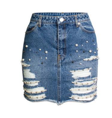19f124a9d € 15.53 31% de DESCUENTO|Falda de mezclilla de cintura alta decoración de  perlas Paquete de pantalones vaqueros de cadera para mujeres rasgados ...