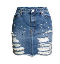 Alta cintura Denim Falda perla decoración paquete Hip Jeans Skit de mujeres  Ripped mujer verano Casual 0aec40f677c0