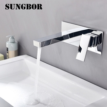 Bathroom Faucet Into the wall cold and hot Water Taps Embedded type Mixer Single Handles Table basin wash basin faucet LT-306L bathroom faucet into the wall cold and hot water taps embedded type mixer double handles table basin wash basin faucet torneira