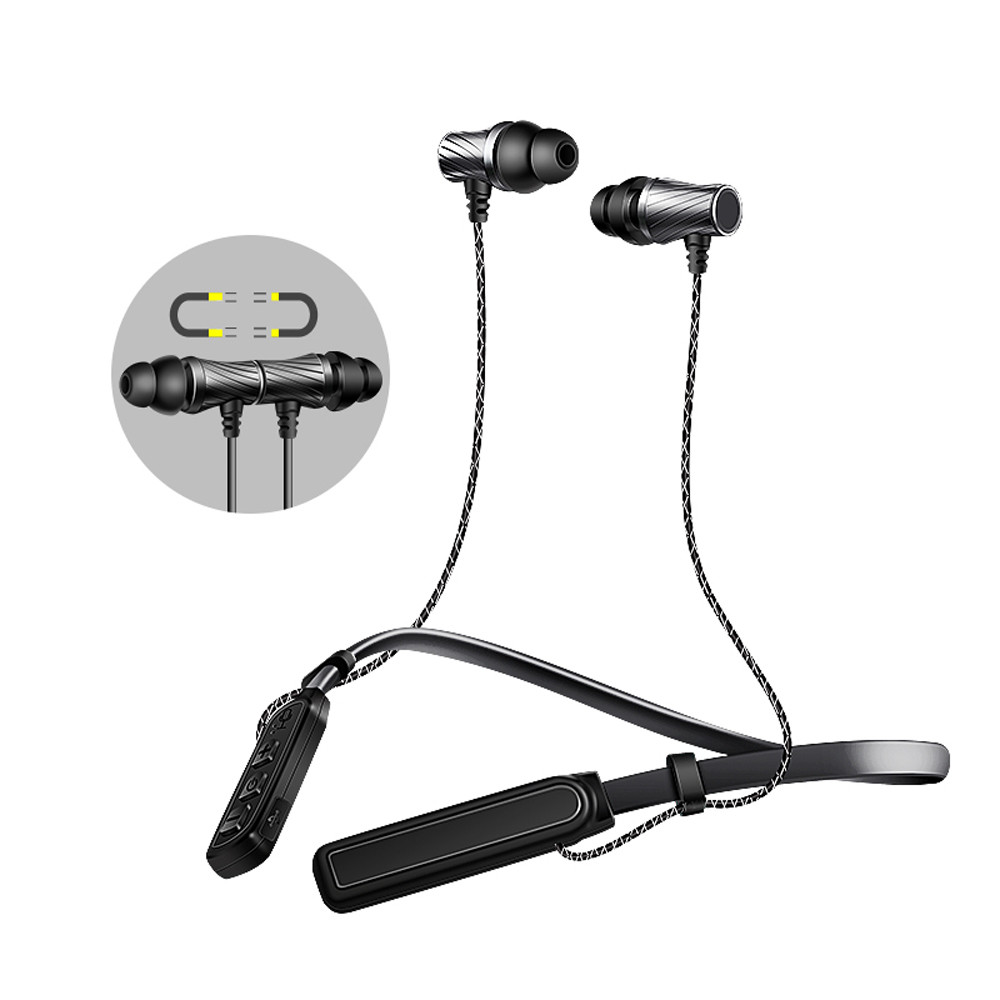 Bluetooth Wireless Headphone Hi-Fi Stereo In-Ear Headset Ultra Flexible Neckband Sports Magnetic Earbuds Sweatproof With Mic remax rb s7 headphone magnetic neckband bluetooth v4 1 wireless hd stereo sports earphone music headphone with mic multi connect