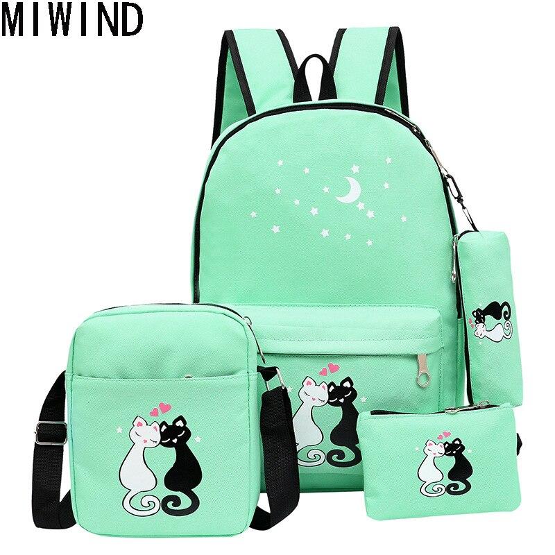 4 шт./компл. холст Для женщин Рюкзаки школьный печати милый кот школьная сумка рюкзак для подростка Обувь для девочек Зеленый Рюкзак moclila 1322