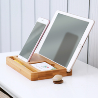 Eco Friendly Bamboo Multi Device Cords Organizer Stand Charging Station And Dock For Iphone Ipad Tablets