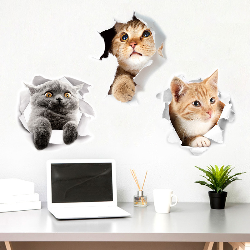 Newest Creative Cats Wall Stickers 3D Hole Vision Home Decor Cat Toilet Stickers Refrigerator Bathroom Decoration Vinyl Decals