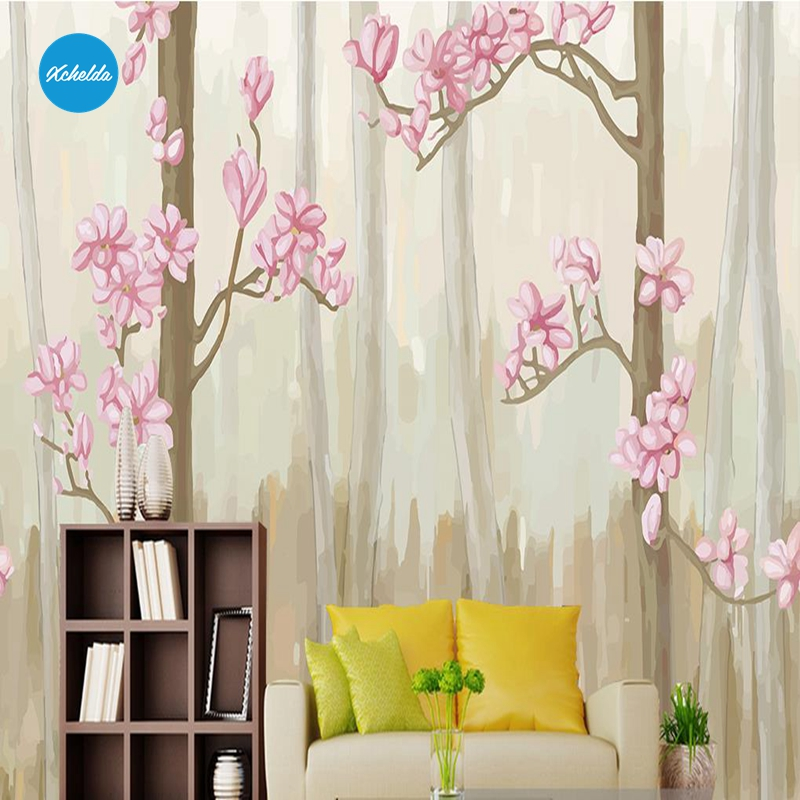 XCHELDA Custom 3D Wallpaper Design Pink Camellia Photo Kitchen Bedroom Living Room Wall Murals Papel De Parede Para Quarto kalameng custom 3d wallpaper design street flower photo kitchen bedroom living room wall murals papel de parede para quarto