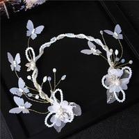 Moda contas torção cristal branco cabelo fios de seda faixa de cabelo borboleta casamento handmade noiva cocar
