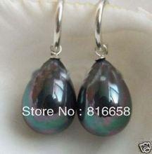 Free shipping Noblest Hook 14mm Black SeaShell Pearl Earring 6 10