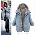 Mujeres invierno gruesa larga con capucha chaquetas denim mujer parkas para las mujeres de invierno de algodón grueso outwear feminino casacos plus tamaño 4XL