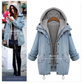 womens winter long thick hooded jackets denim woman thick cotton parkas for women winter outwear casacos plus size feminino 4XL
