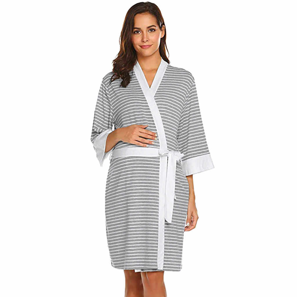 58de3aba28c80 Maternity Nursing Stripe Robe Delivery Nightgowns Hospital Breastfeeding  Gown summer maternity dress moederschap jurk for women