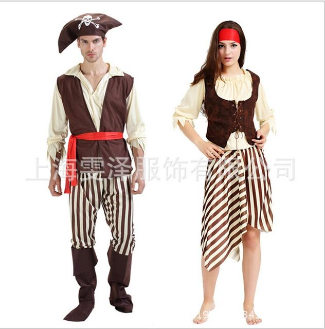 Cheap Fashionable adult men women Skeletons pirate costume halloween party dress up costume shirt vest trouses boot headband  sc 1 st  Aliexpress & Online Shop Cheap Fashionable adult men women Skeletons pirate ...